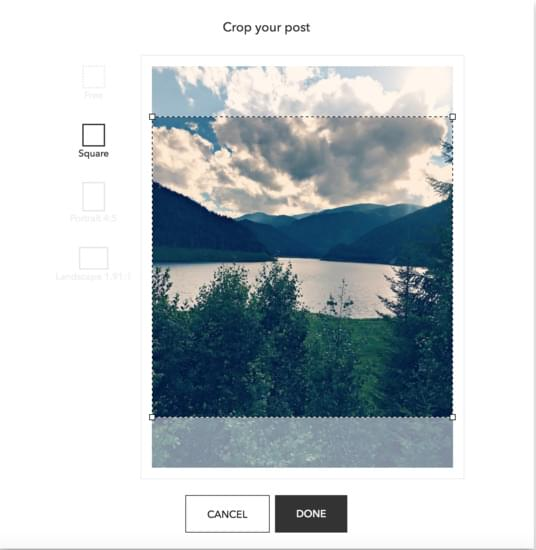 crop your scheduled Instagram posts
