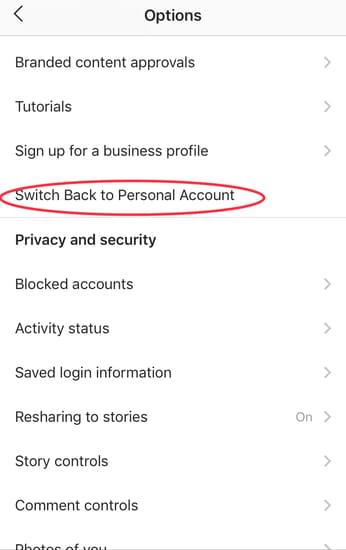 how to switch back to personal account on Instagram
