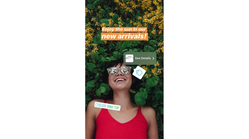 Instagram shoppable Stories Stickers and how they look like