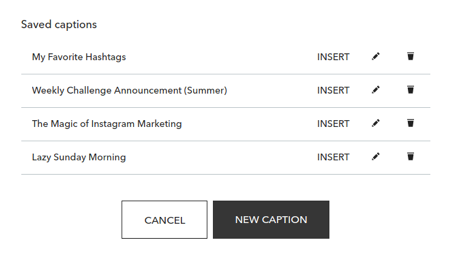 Save and retrieve hashtags and captions for Instagram