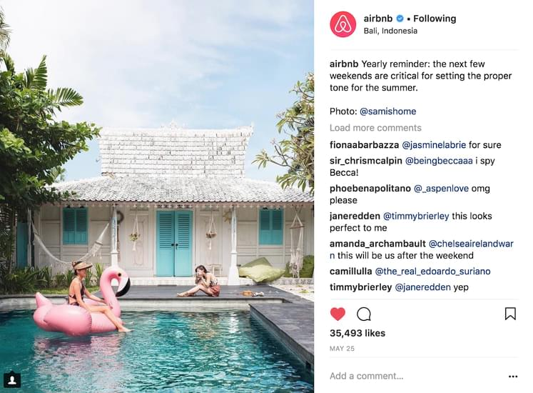 Write a caption that gives context to your photo. Airbnb example