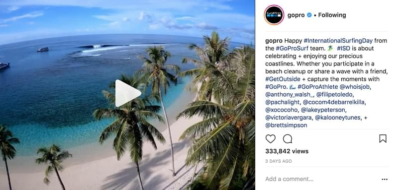 Use CTAs in captions. Gopro example