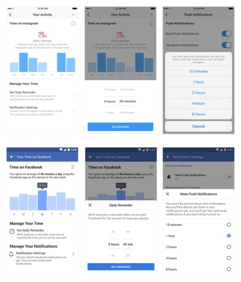 Facebook and Instagram's new time limit tools dashboard