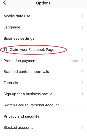 how to claim your Facebook page for your Instagram business profile