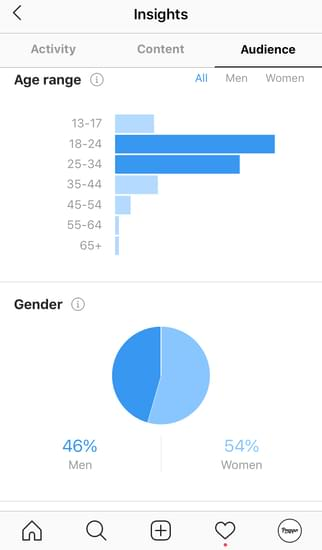 the Audience tab in instagram insights